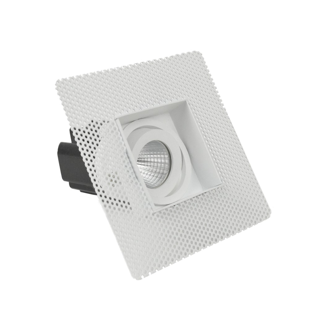 Three quarter view of DLD Eiger Mini 1-S LED square adjustable downlight with plaster-in frame on white background