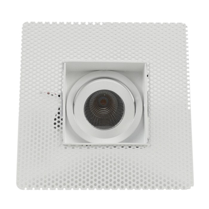 Straight on view of DLD Eiger Mini 1-S LED square adjustable downlight with plaster-in frame on white background