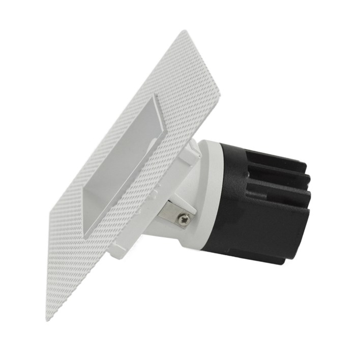 Side view of DLD Eiger Mini 1-S LED square adjustable downlight with plaster-in frame on white background