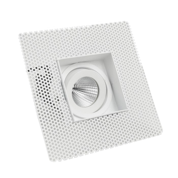 Off-centre view of DLD Eiger Mini 1-S LED square adjustable downlight with plaster-in frame on white background