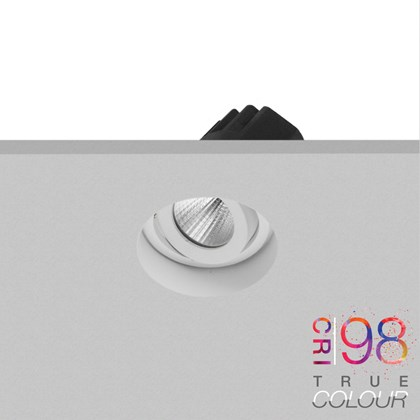 DLD Eiger Mini 1-R LED round plaster-in adjustable downlight recessed into the ceiling with the aluminium heat sink & True Colour CRI98 logo