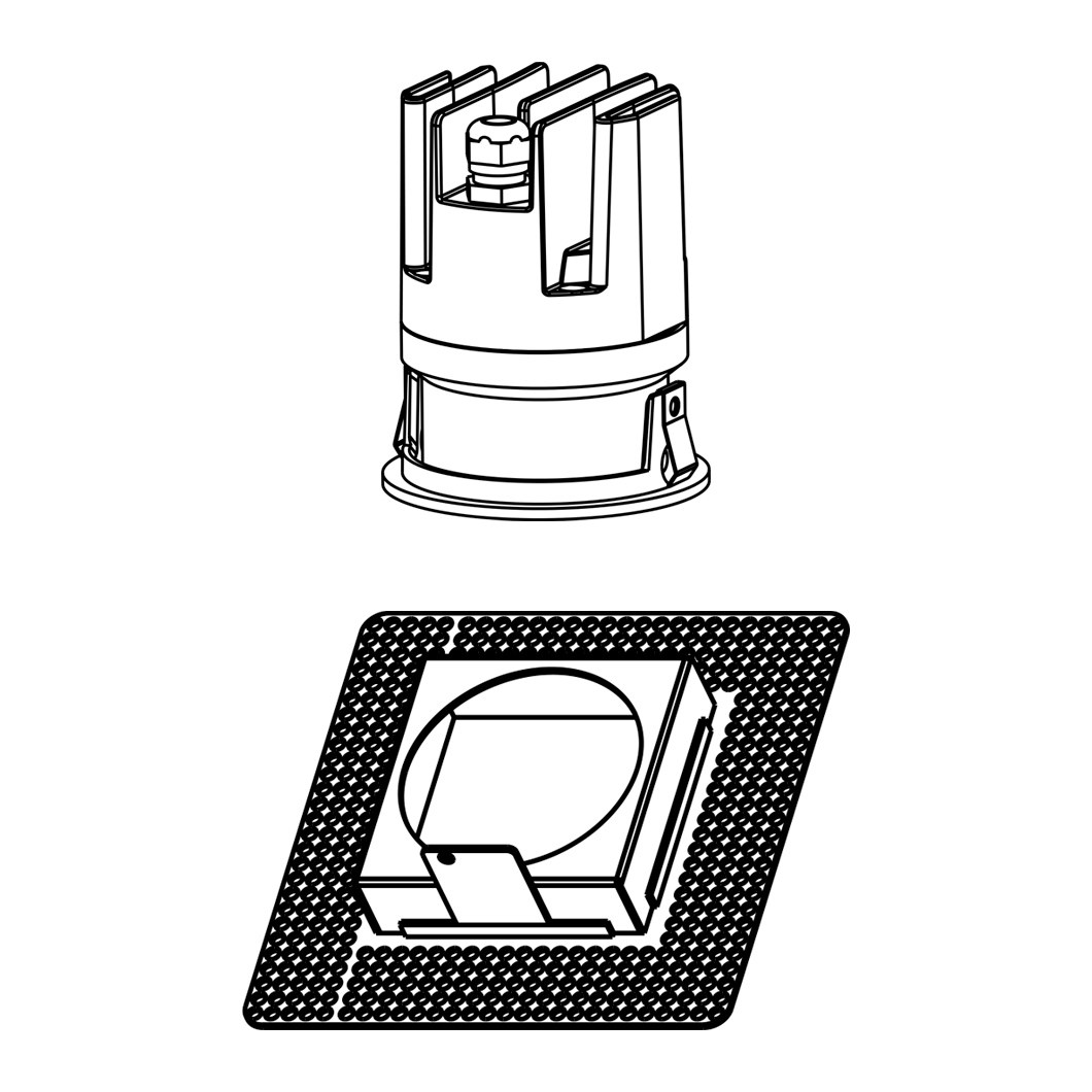 Line drawing of DLD Eiger Mini 1-R adjustable LED downlight and square plaster-in frame