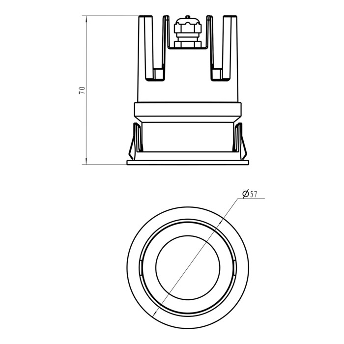 Dimensions line drawing of DLD Eiger Mini LED downlight engine component