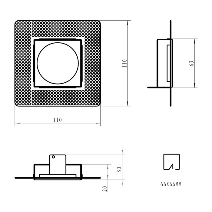 Front and side dimensions line drawing of DLD Eiger Mini 1-S plaster-in frame component with cutout