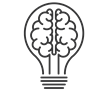Lightbulb with brain filament icon