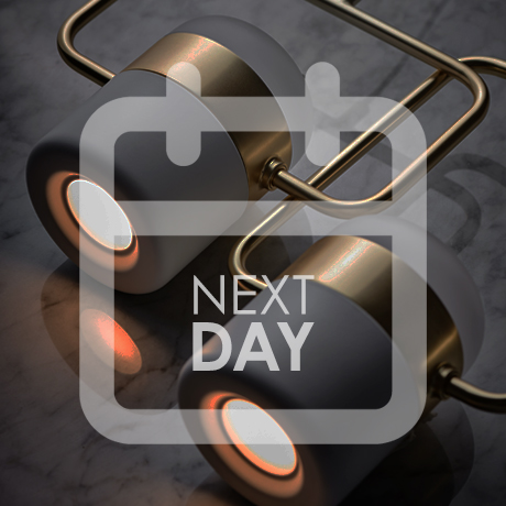 Next Day Delivery image, calendar icon over an image of Seed Design Ling pendant lights in white and brass
