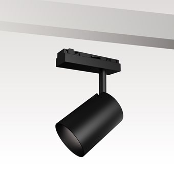 DLD Shadowline LED 12W Spot Light module for track, in black showing the track fitting