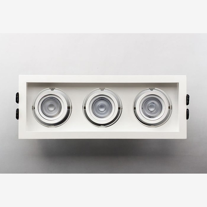 Idea Adjustable 3 downlight from a top view, showcasing its optics.