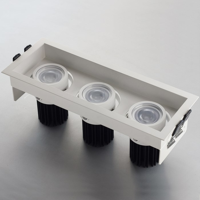 The LLD Idea Adjustable 3, modular downlight in matt white.