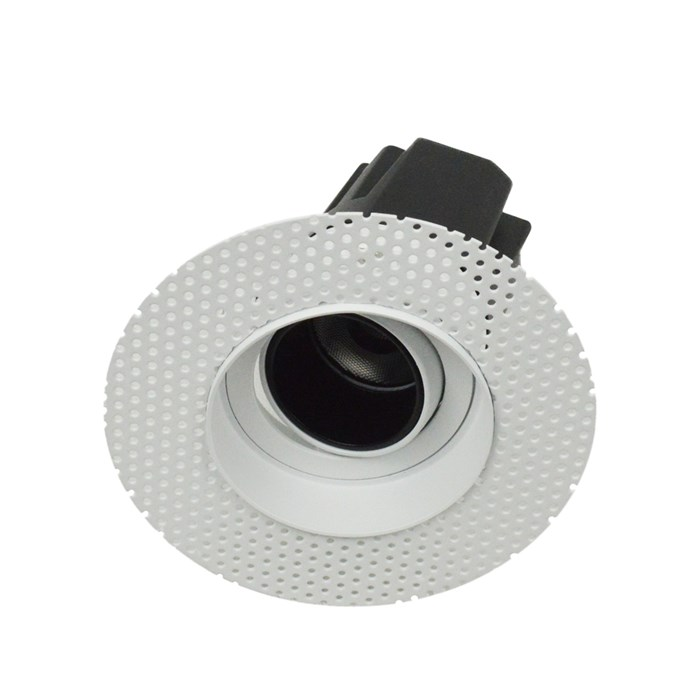 3/4 view DLD Andes 1-R True Colour CRI98 plaster-in adjustable recessed downlight showing round plaster kit with tilted light engine on white background