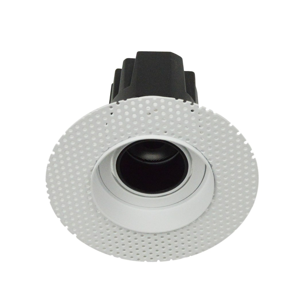 3/4 view DLD Andes 1-R True Colour CRI98 plaster-in adjustable recessed downlight showing round plaster kit on white background