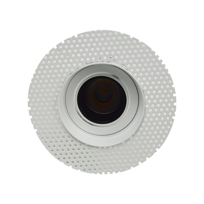 Straight on view DLD Andes 1-R True Colour CRI98 plaster-in adjustable recessed downlight showing round plaster kit on white background