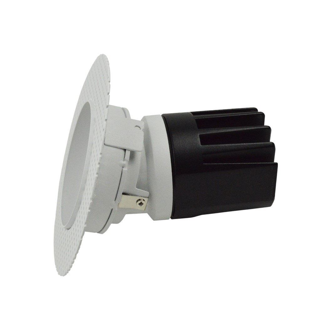 Side view DLD Andes 1-R True Colour CRI98 plaster-in adjustable recessed downlight showing round plaster kit on white background