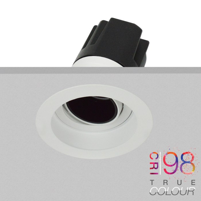 DLD Andes 1-R True Colour CRI98 adjustable recessed downlight with trim fixed into a ceiling