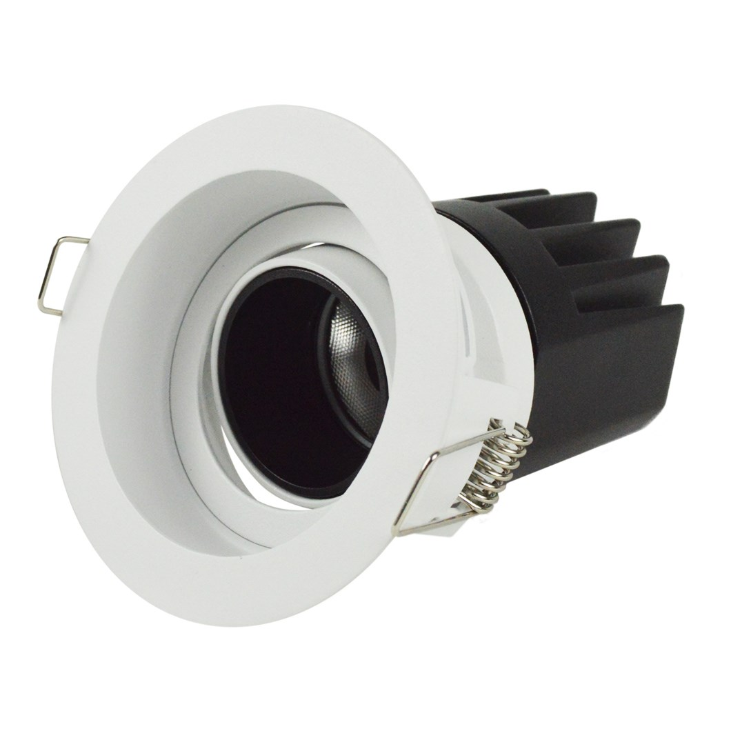 3/4 view DLD Andes 1-R True Colour CRI98 round adjustable recessed downlight on white background