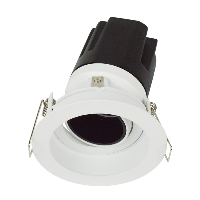 3/4 view DLD Andes 1-R True Colour CRI98 round adjustable recessed downlight with trim tilted light engine on white background