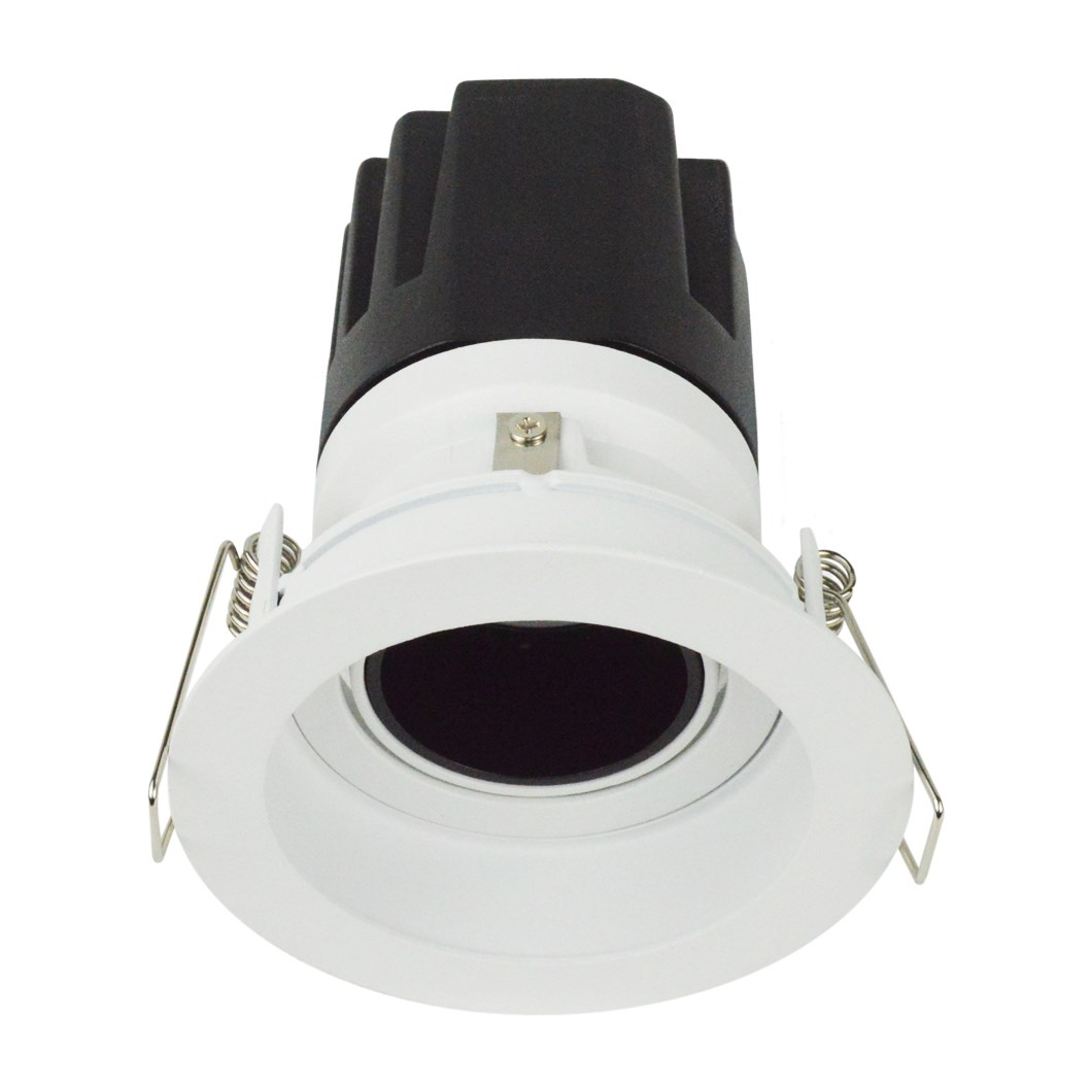 3/4 view DLD Andes 1-R True Colour CRI98 round adjustable recessed downlight with trim straight light engine on white background