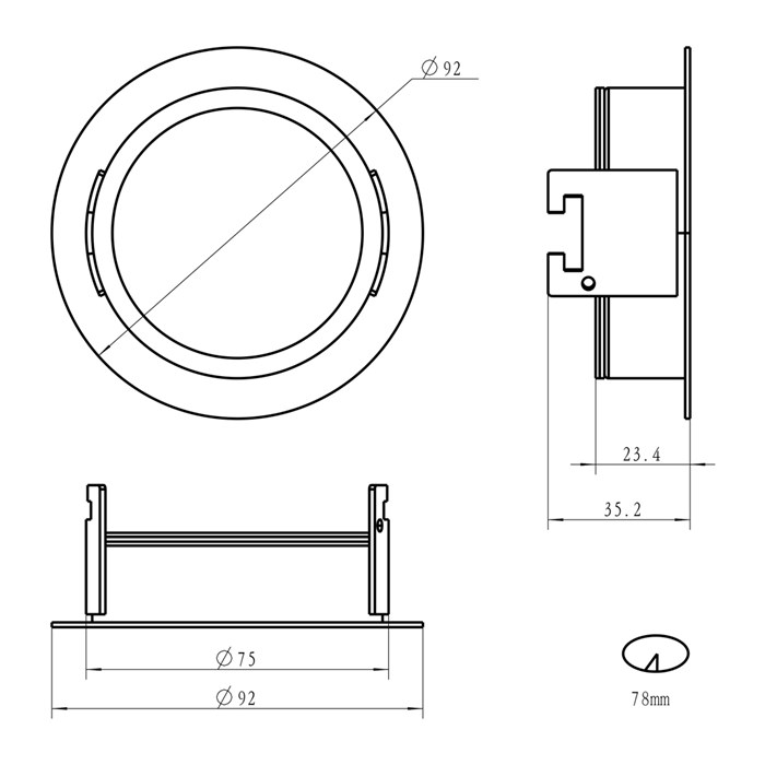 Dimensions diagram of DLD Andes 1-R round recessed frame