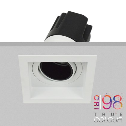 DLD Andes 1-S True Colour CRI98 adjustable recessed downlight with square trim fitted in the ceiling