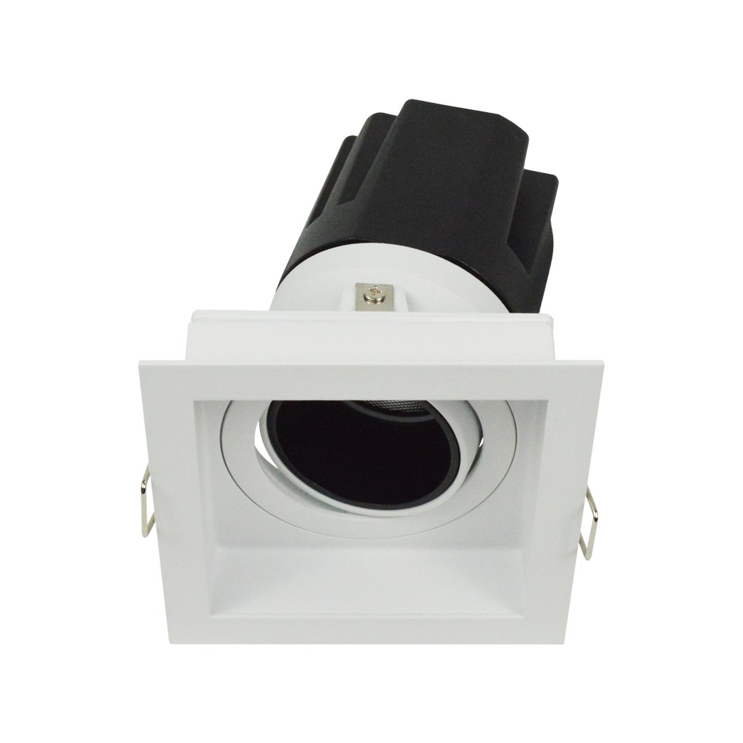 3/4 view DLD Andes 1-S True Colour CRI98 square adjustable recessed downlight with trim & tilted light engine on white background