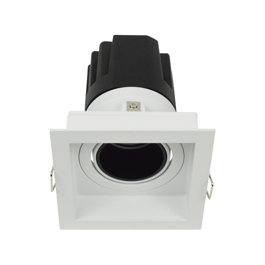 3/4 view DLD Andes 1-S True Colour CRI98 square adjustable recessed downlight with trim & straight light engine on white background