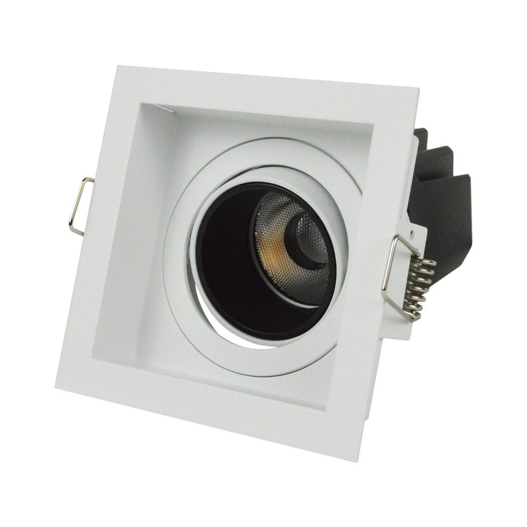 3/4 side elevation view of DLD Andes 1-S True Colour CRI98 adjustable recessed downlight with square trim on white background