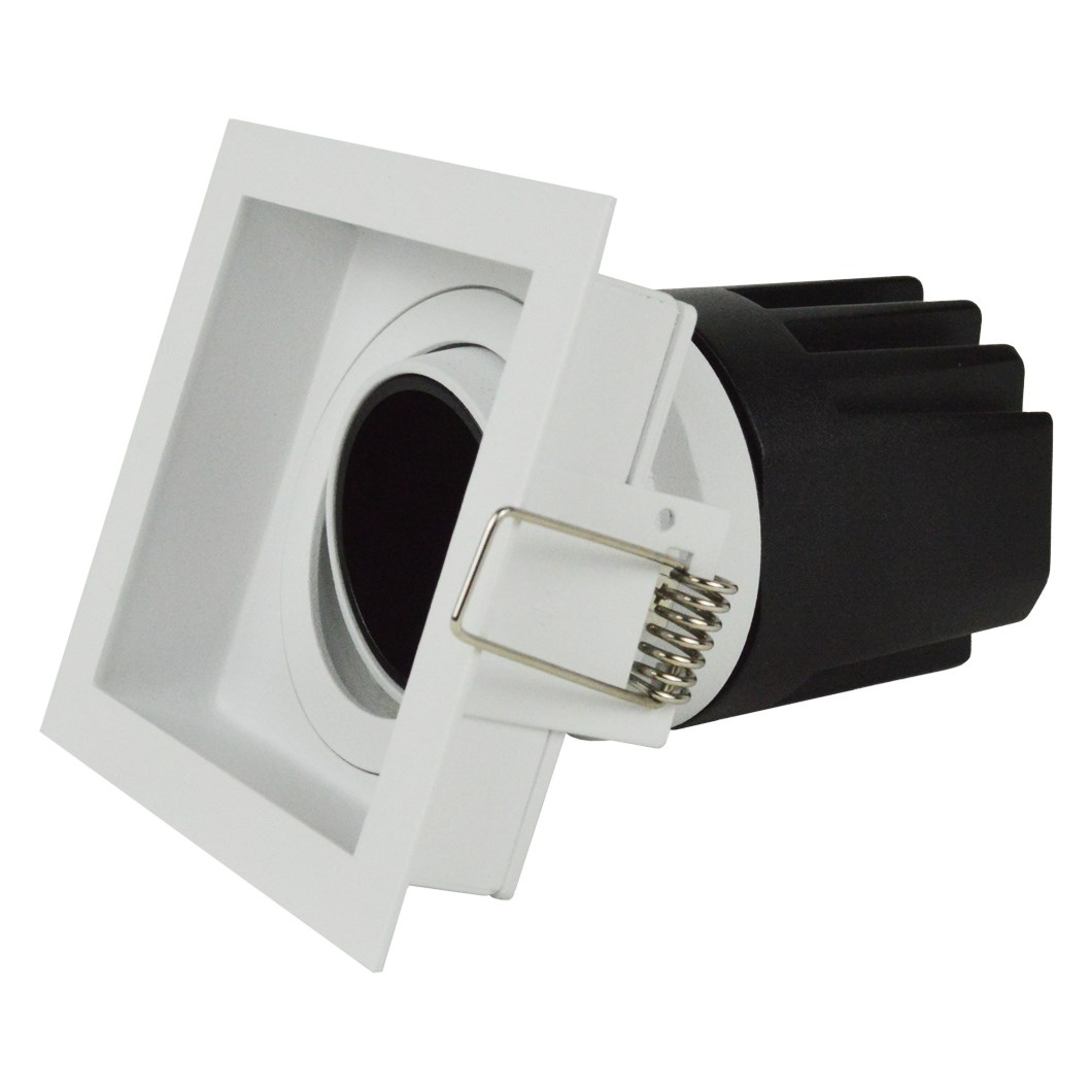 Side elevation view of DLD Andes 1-S True Colour CRI98 adjustable recessed downlight with square trim on white background