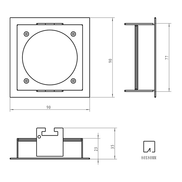 Dimensions diagram of DLD Andes 1-S square recessed frame