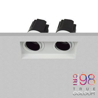 DLD Andes 2 True Colour CRI98 adjustable recessed twin downlight plastered into a ceiling