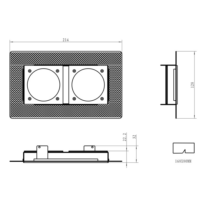 Dimensions diagram of DLD Andes 2 rectangular recessed plaster-in frame