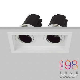 DLD Andes 2 True Colour CRI98 adjustable recessed twin downlight fitted into a ceiling