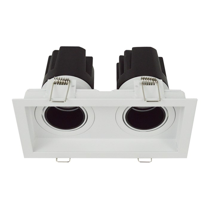 DLD Andes 2 True Colour CRI98 recessed adjustable recessed twin downlight with straight light engines on white background