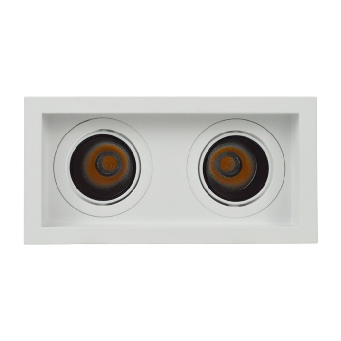 Face on view of DLD Andes 2 True Colour CRI98 recessed adjustable recessed twin downlight on white background