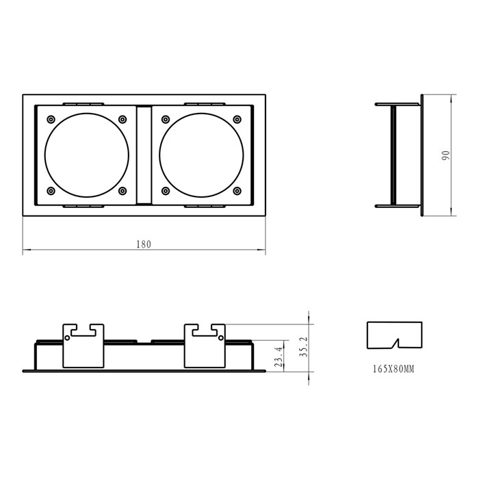 Dimensions diagram of DLD Andes 2 rectangular recessed frame