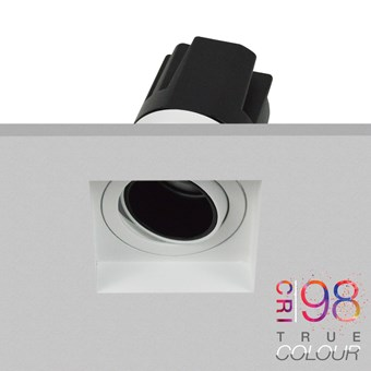 DLD Andes 1-S True Colour CRI98 adjustable recessed square downlight plastered into a ceiling