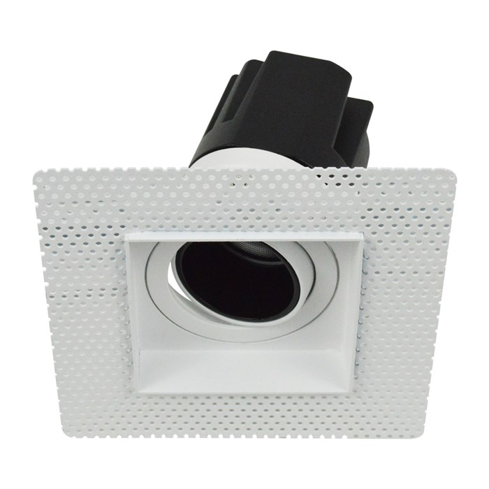 DLD Andes 1-S True Colour CRI98 plaster-in adjustable recessed downlight showing square plaster kit with tilted light engine on white background