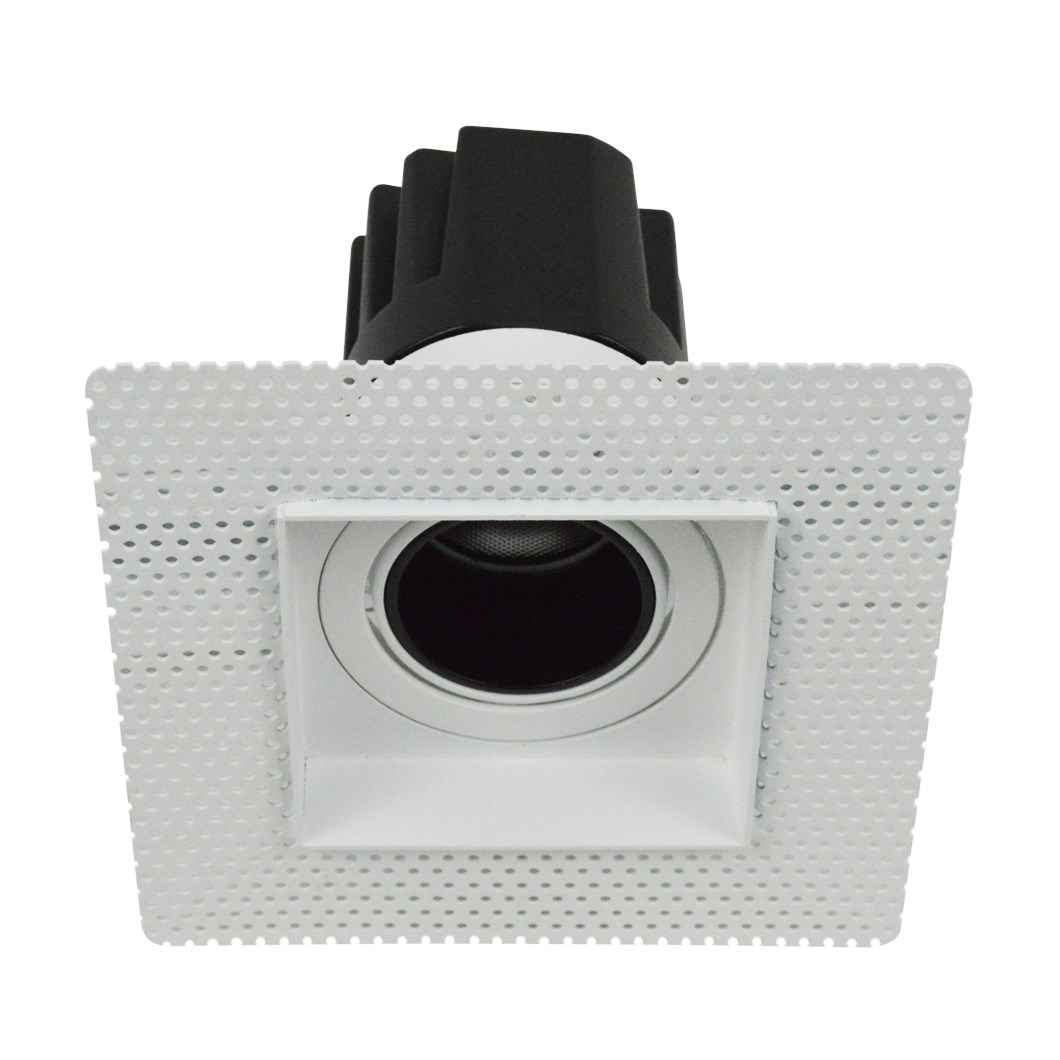 DLD Andes 1-S True Colour CRI98 plaster-in adjustable recessed downlight showing square plaster kit with straight light engine on white background