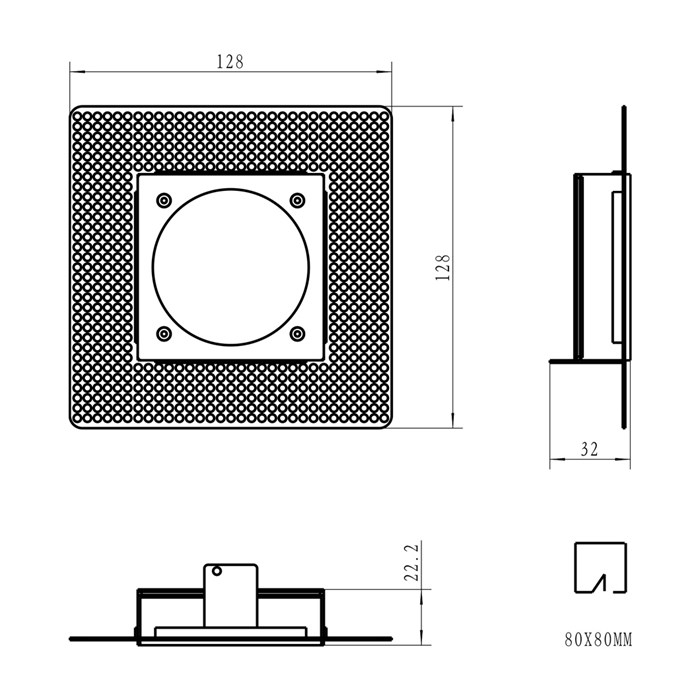 Dimensions diagram of DLD Andes 1-S square plaster-in kit