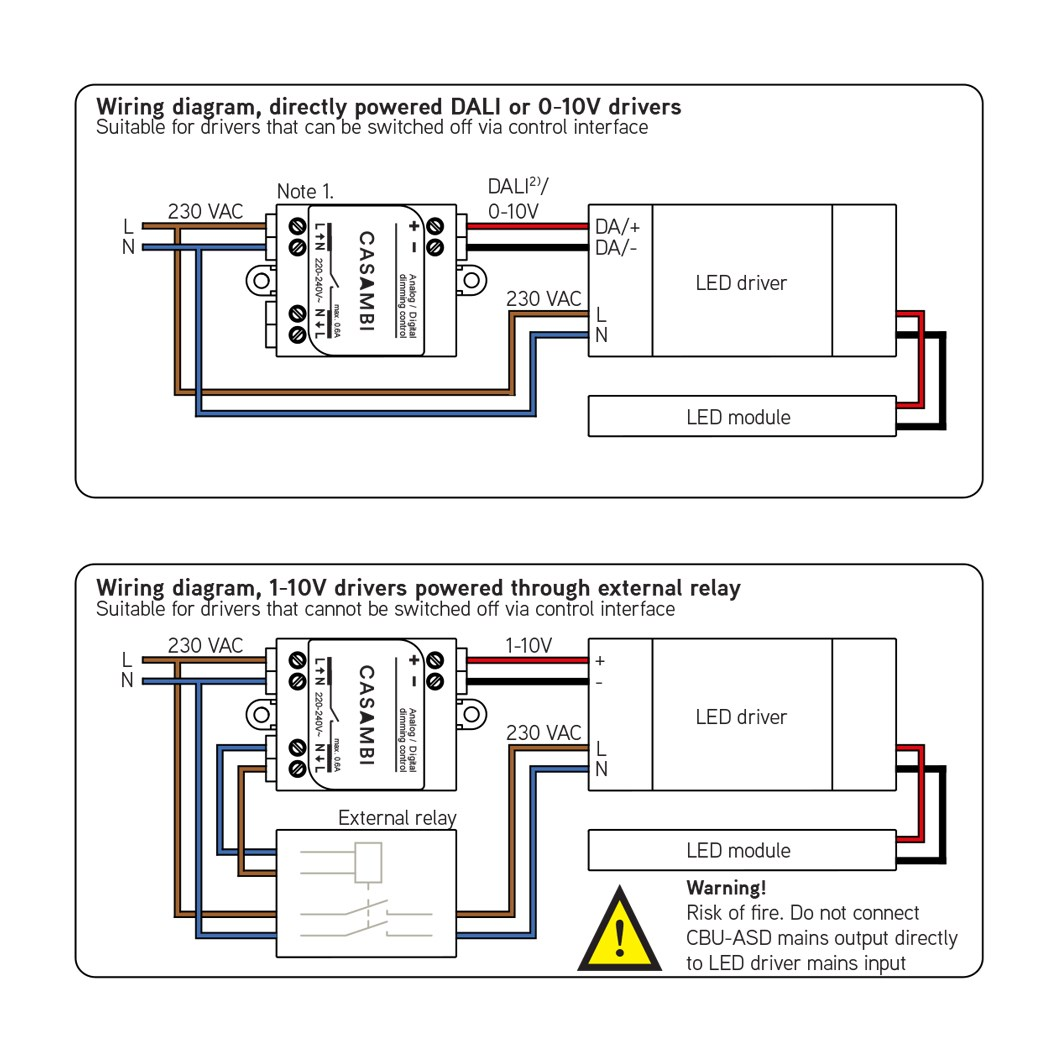 Wiring instructions for Casambi's CBU-ASD.