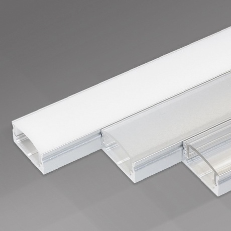 Architectural surface mounted aluminium linear LED profile with diffusion strips