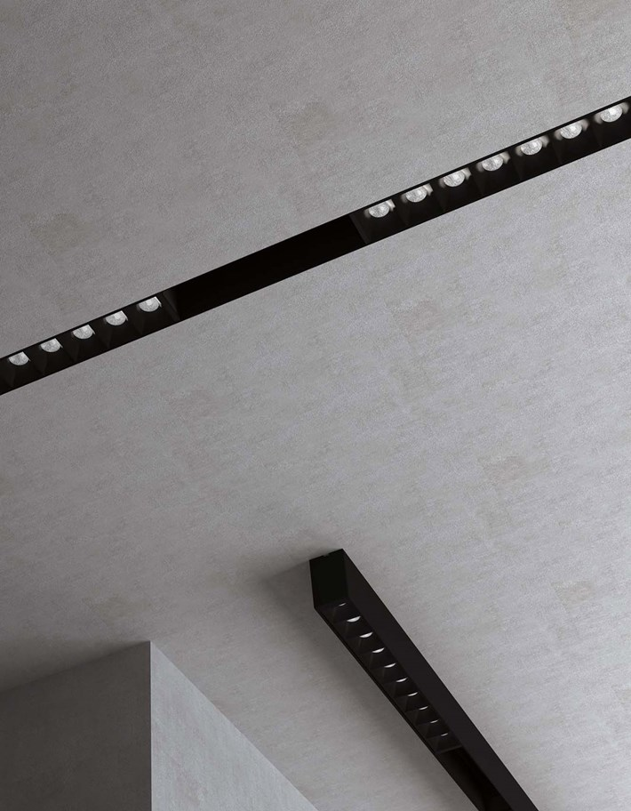 DLD Shadowline recessed and surface mounted track installed with LED downlight modules