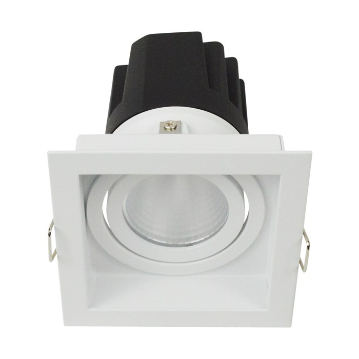 3/4 view of DLD Eiger 1-S Adjustable LED Downlight with white square trim frame with a straight light engine on a white background