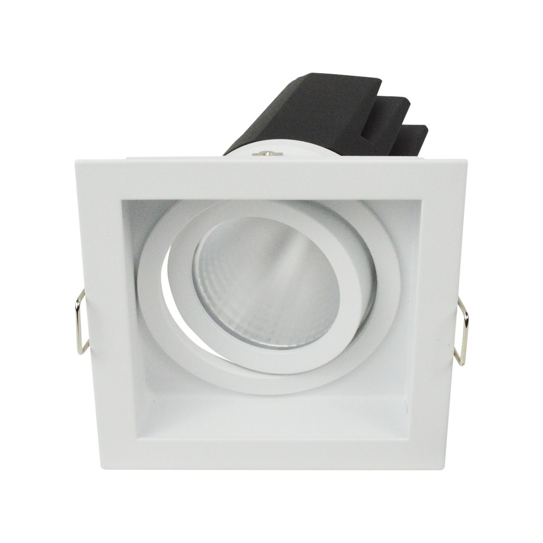 3/4 view of DLD Eiger 1-S Adjustable LED Downlight with white square trim frame with a tilted light engine on a white background