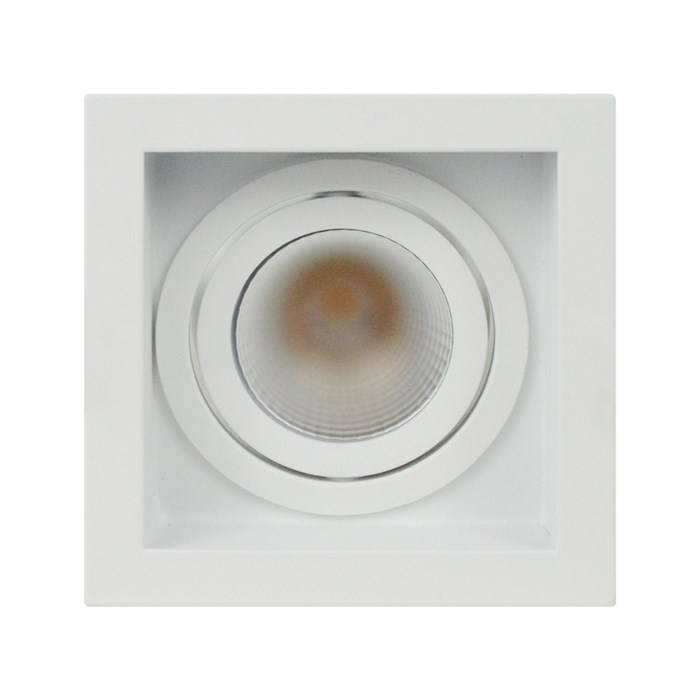 Straight on view of DLD Eiger 1-S Adjustable LED Downlight with white square trim frame on a white background