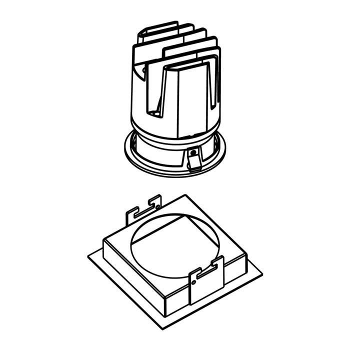 Line drawing of DLD Eiger 1-S Adjustable LED Downlight with white square trim frame
