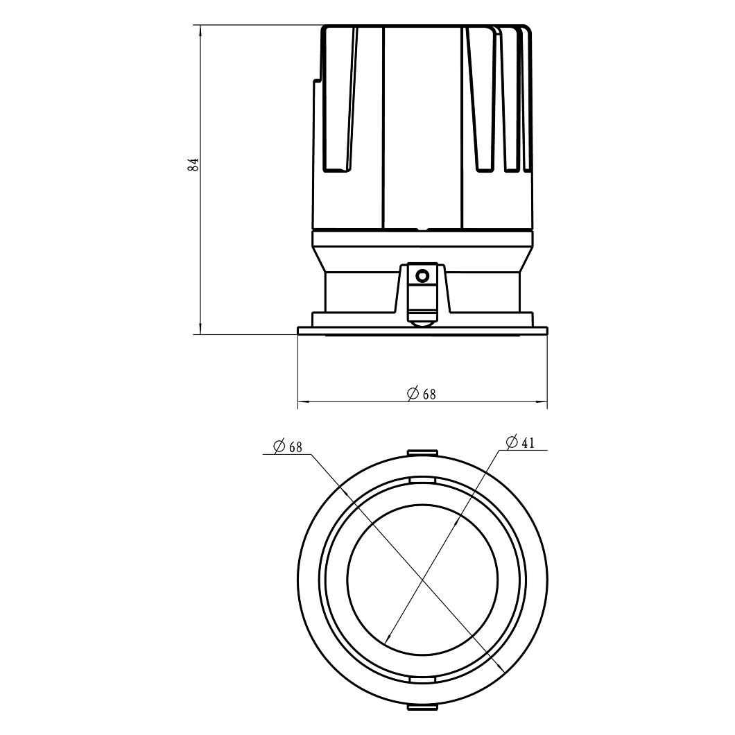 Dimensions diagram of DLD Eiger adjustable LED downlight component
