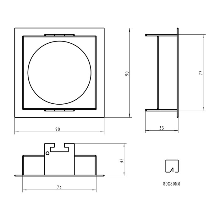 Dimensions diagram of DLD Eiger 1-S square frame with trim component