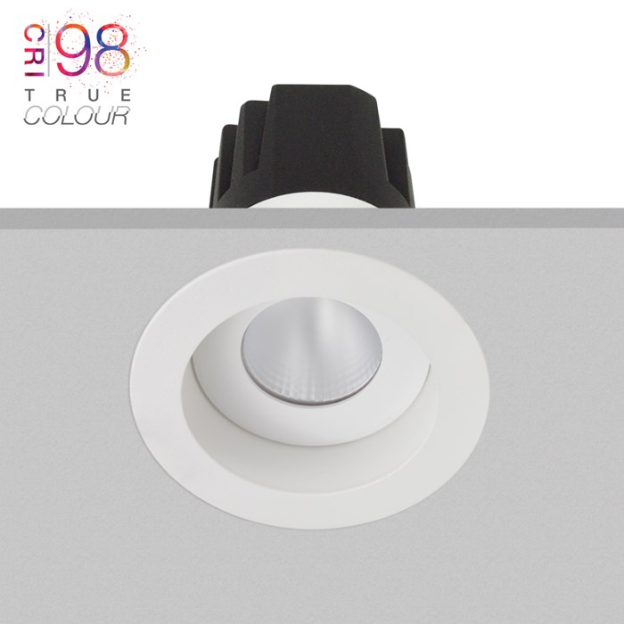 DLD Eiger 1-R fixed LED recessed downlight with white round bezel, installed in the ceiling & showing the light engine heat sink & True Colour CRI98 logo