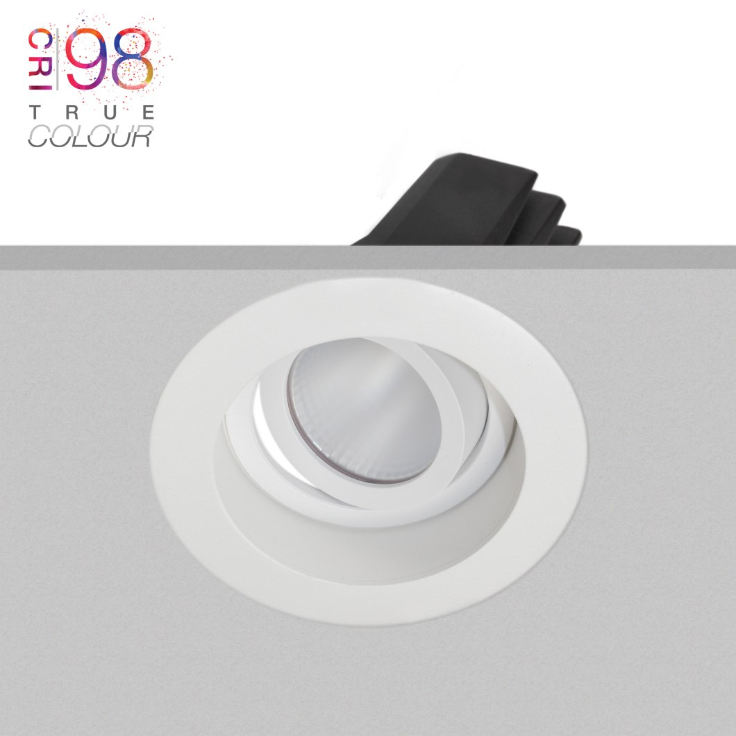 DLD Eiger 1-R adjustable LED recessed downlight with round white bezel, installed in the ceiling & showing the tilted light engine heat sink & True Colour CRI98 logo