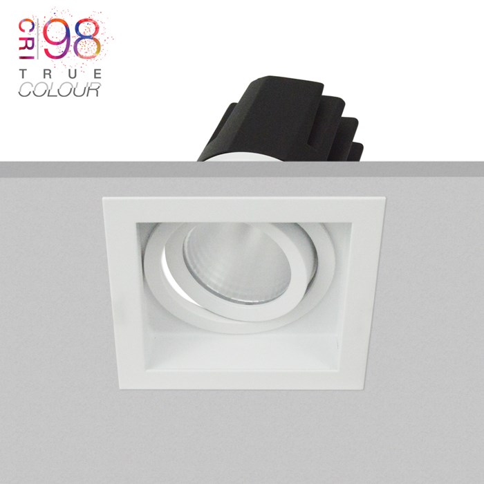 DLD Eiger 1-S adjustable LED recessed downlight with square white bezel, installed in the ceiling & showing the tilted light engine heat sink & True Colour CRI98 logo